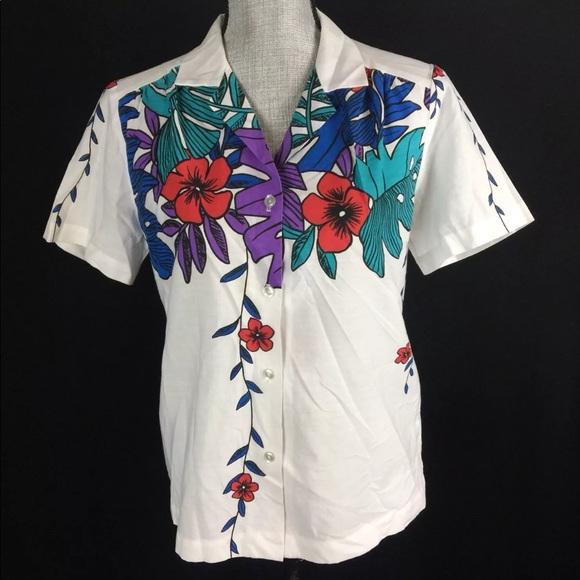 575723a8 Hilo Hattie Tops - Vintage Hilo Hattie Hawaiian Shirt Floral Medium